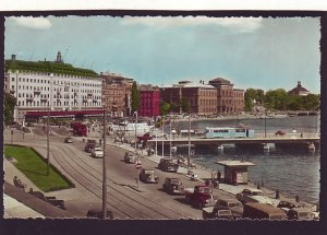 P1595 vintage unused postcard old cars etc street view stockholm sweden