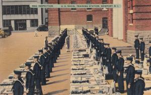 NEWPORT , Rhode Island, 30-40s ; Bag Inspection , U.S. Naval Training Station