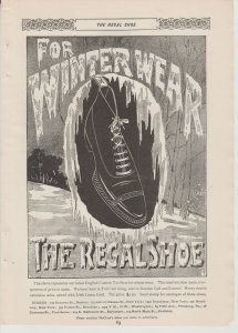 Regal Shoe 1895 Print Ad~For Winter Wear~Man's Lace-Up Shoe Framed in Ice