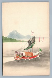 CHINESE WATERCOLOR & APPLIQUE STAMPS COLLAGE ANTIQUE POSTCARD SAIL BOAT