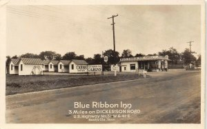 LP45   Nashville Tennessee Postcard RPPC Blue Ribbon Inn Roadside Gas Station
