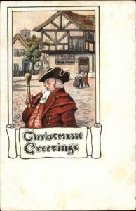Christmas - Medieval Man in Village c1910 Postcard