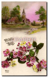 Old Postcard Fantasy Flowers Bonne fete