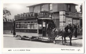 Pamlin London RP PPC M575 Unposted, Oakeys Knife Polish Advert on Horse Tram