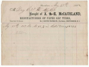 1862 Billhead, A. McCAUSLAND, Paper Cop Tubes, Providence, Rhode Island