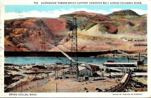 Washington Grand Coulee Suspension Towers Which Support Conveyor Belt Across ...