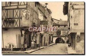 Old Postcard Motorcycle Villeneuve sur Lot Old houses in the street of colleg...