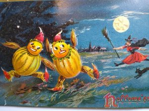 Vintage Halloween Postcard Tucks Witch Cat Goblins Anthropomorphic Unused 150