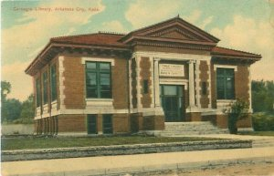 Arkansas City, KS Carnegie Library 1911 Postcard