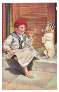 Boy Reading Newspaper and Dog Smoking Hitting the Pipe