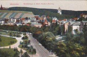 Germany Wiesbaden Nerotalanlagen mit Griechische Kapelle und Neroberg