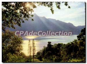 Postcard Modern Lake Bourget crepusculaire the time and Dent du Chat