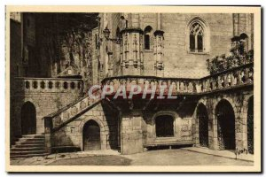 Old Postcard Rocamadour The forecourt L & # 39escalier of the Miraculous Chapel