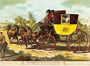 Giant Size Art Postcard, The Original Bath Mail Coach, Horses, Post Office OS210