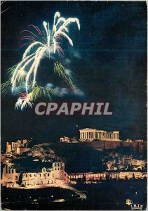 Postcard Modern Athens Acropolis Illuminee