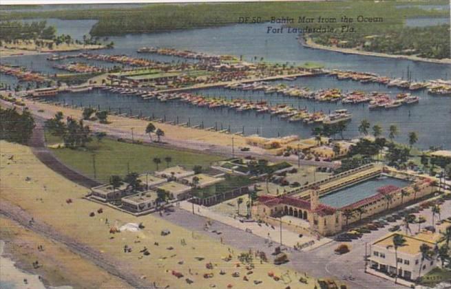 Florida Fort Lauderdale Bahia Mar From The Ocean 1953 Curteich