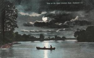 Canoe on Upper Genesee River in Moonlight - Rochester, New York - pm 1909 - UDB