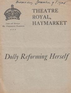Dolly Reforming Herself Upper Class Drama Theatre Royal Haymarket Programme