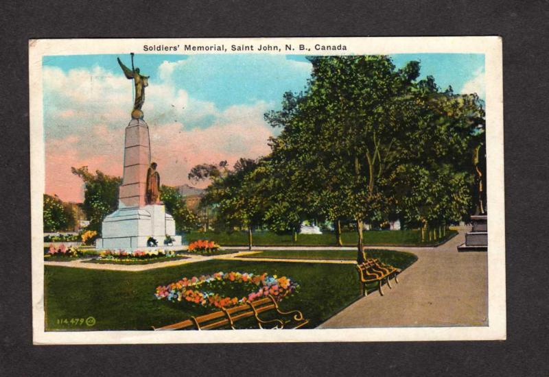 NB Soldier Monument St Saint John New Brunswick Canada Carte Postale Postcard