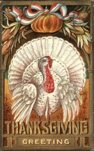 THANKSGIVING Turkey and Pumpkin EMBOSSED c1910 Postcard