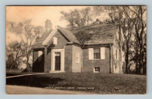 Lincoln ME, Lincoln Memorial Library, Linen Maine c1947 Postcard