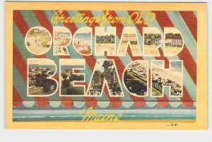 BIG LARGE LETTER VINTAGE POSTCARD GREETINGS FROM MAINE OLD ORCHARD BEACH #1