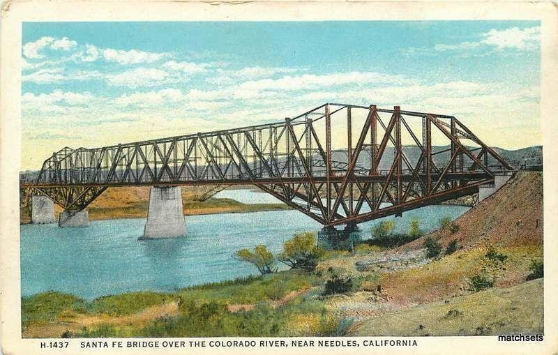 Near NEEDLES, CALIFORNIA Santa Fe Bridge Colorado River HARVEY postcard 16945