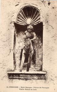 France Perouges saint Georges patron de perouges vieille statue en bois 01.50