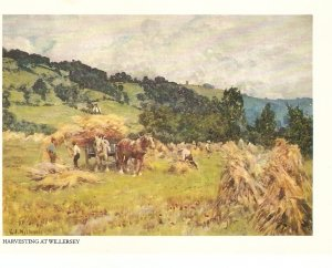 Harvesting at Willersey. Cart Horse Fine painting. Vintage PC. Continental siz