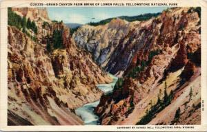 Grand Canyon from Brink of Lower Falls, Yellowstone National Park Wyoming