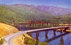 AUTO AND RAIL BRIDGES OVER CANYON OF PIT RIVER, NOW SHASTA LAKE, CALIFORNIA