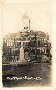 LP56   Court House  Bedford   Iowa Vintage Postcard RPPC Civil War Memorial