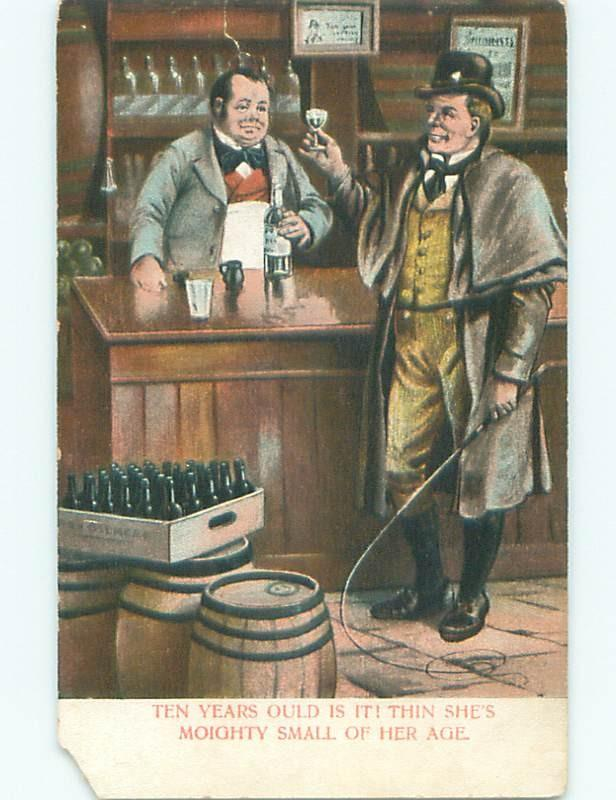 Pre-Linen IRISH MEN HOLDING BULLWHIP DRINKING WHISKEY AT BAR W7245