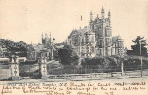 Dunedin New Zealand~Boys High School~Castle on Hill~Iron Fence~1905 B&W Postcard