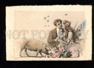 049805 Kiss of Lovers Winged FAIRY & Pink PIG Vintage PC