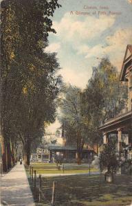 Clinton Iowa Fifth Avenue Street Scene Antique Postcard K83018