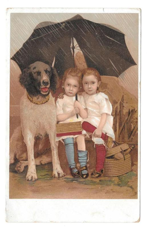 Vintage Chromo Children Girls and Large Dog in Rain