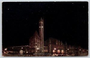 St Louis Missouri~Union Station~Night Scene~Vo Hammon~Clocktower~c1910 Postcard