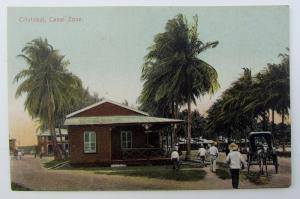VINTAGE POSTCARD - CRISTOBAL CANAL ZONE PANAMA w/ CANCELED STAMP