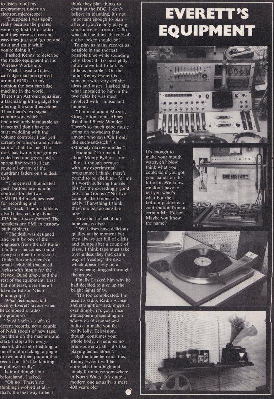 Kenny Everett Radio Caroline DJ Wireless Radio Workshop 1970s Magazine