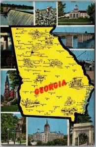 Vintage GEORGIA State Map Multi-View Postcard 10 State Scenes KROPP Linen c1940s