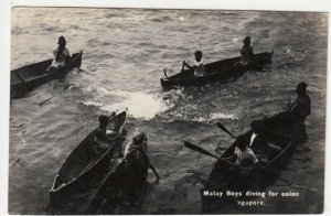 Singapore; Malay Boys Diving For Coins RP PPC, Unused, c 1930's