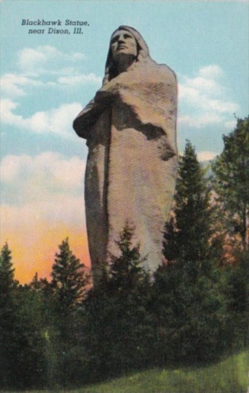 Illinois Dixon Blackhawk Statue 1941 Curteich