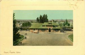 C-1910 Railroad Train Depot Payette Idaho Frame like Portland Postcard 2038