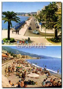 Postcard Moderne Menton The Promenade and The Beach