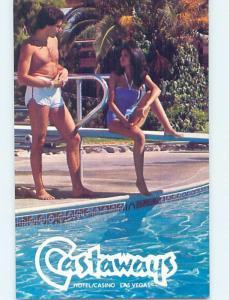 Pre-1980 RISQUE - BATHING SUIT GIRL AT CASTAWAYS CASINO HOTEL Las Vegas NV B1099