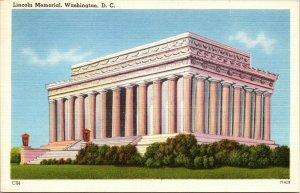 Abraham Lincoln Memorial Washington, D.C. linen postcard