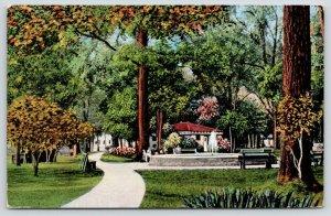 Appleton Wisconsin~Family Sits Near Fountain @ City Park~Beautiful Scenery 1942