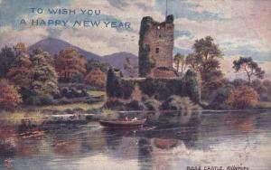 TUCK #7283, To Wish You A Happy New Year, Ross Castle, Killarney, Scotland, 0...