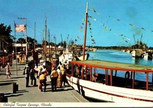 Florida Tarpon Springs Scene Along Sponge Fleet Docks On The Anclote River 1982